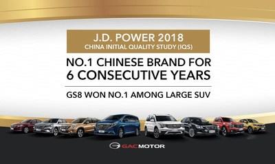 A GAC Motor conquistou o primeiro lugar de marca chinesa da J.D. Power por 6 anos consecutivos (PRNewsfoto/GAC Motor)