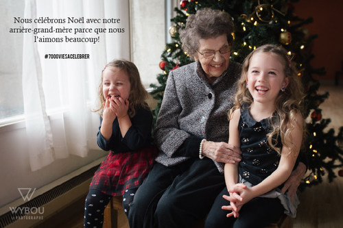 Nous célébrons Noël avec notre arrière-grand-mère parce que nous l'aimons beaucoup! #7000viesàcélébrer (Groupe CNW/Association des établissements privés conventionnés (AEPC))