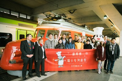 """Photo: The launch of the first """"The Master Kong Noodles House chez The Red Arrow Churchill"""" on the Swiss train of Red Arrow """"Churchill"""