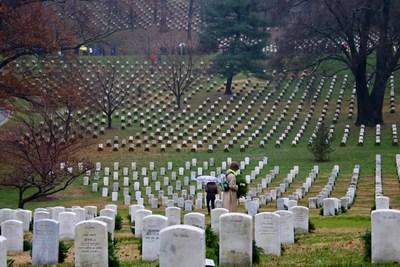 Veterans' wreaths placed at Arlington National Cemetery on Dec. 15. Wreaths Across America 2018.