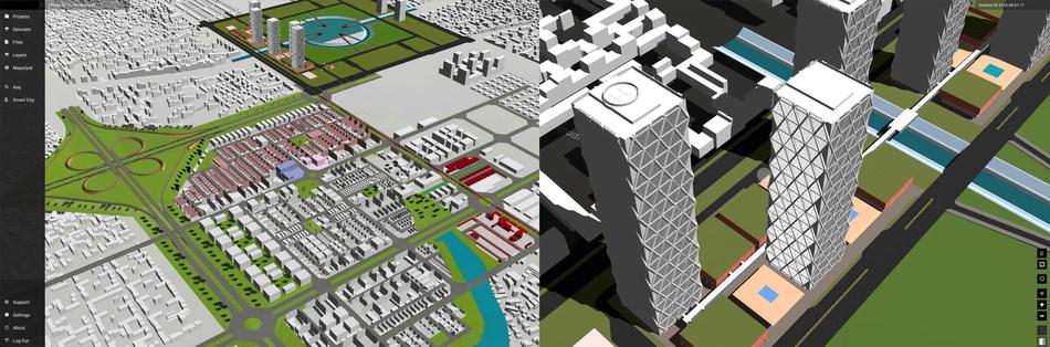 Two views of the Amaravati greenfield city, as seen from Cityzenith's Smart World Pro Digital Twin solution. (PRNewsfoto/Cityzenith)