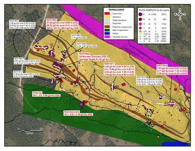 Notches Trench Area Geology Map (CNW Group/Aurion Resources Ltd.)