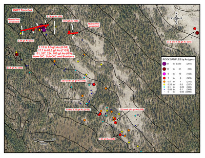 YNot Trench Area Map (CNW Group/Aurion Resources Ltd.)