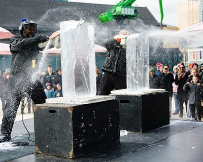 "The 4th annual Sugar Shack TO will see the return of Battle of the Chainsaws, a ""cool"" ice carving competition. Photo courtesy of Jim Orgill. (CNW Group/Water's Edge Festivals & Events)"