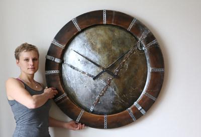 Metallic Industrial Wall Clock (PRNewsfoto/Peak Art Clocks)