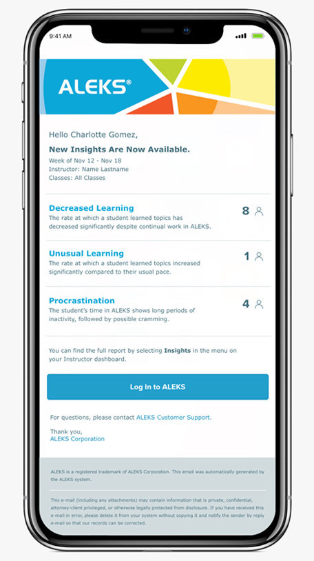 ALEKS Insights will be available as a new feature for K-12 and higher education courses beginning in mid-2019.