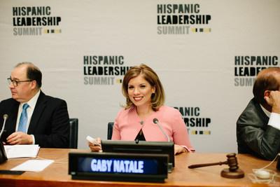 Gaby Natale habla en las Naciones Unidas.