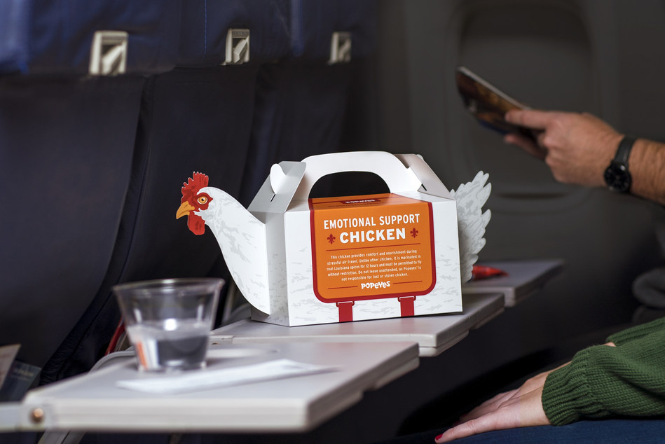 "POPEYES® LAUNCHES ""EMOTIONAL SUPPORT CHICKEN"" TO PROVIDE A LITTLE HUMOR TO HELP EASE THE STRESS OF HOLIDAY TRAVEL"