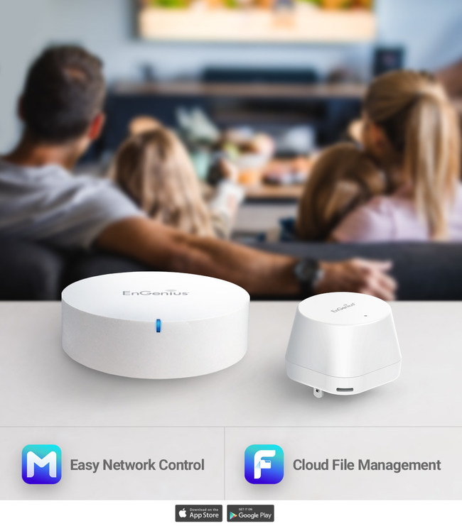 Comprised of the EMR3500 and Mesh Dot, the MESHdot Kit provides wireless connectivity for smart home and IoT devices. Optimize the MESHdot Kit with the EnMesh and EnFile app. EnMesh provides easy set-up and management of your network. EnFile offers file management on any mobile device as well as creating personal cloud storage through the EMR3500.