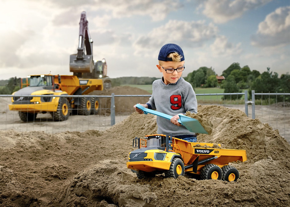 The Volvo A60H Kids Toy is just like the real thing - only smaller. (PRNewsfoto/Volvo Construction Equipment)