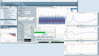 Example test results—Impedance magnitude, phase and coherence—of a loudspeaker tested using a noise signal with the APx500 software version 5.0 transfer function measurement capability.