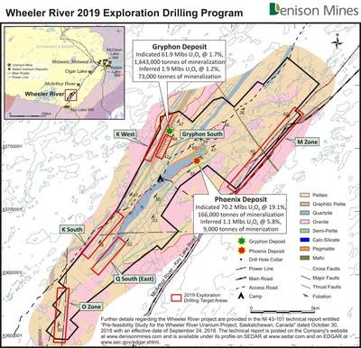 Figure 2: Location of the high priority regional target areas planned for exploration drill testing in 2019, shown on the Wheeler River basement geology map. (CNW Group/Denison Mines Corp.)