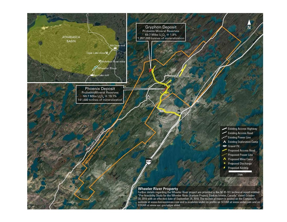 Figure 1: Location map of the Wheeler River project, showing existing and proposed infrastructure (CNW Group/Denison Mines Corp.)