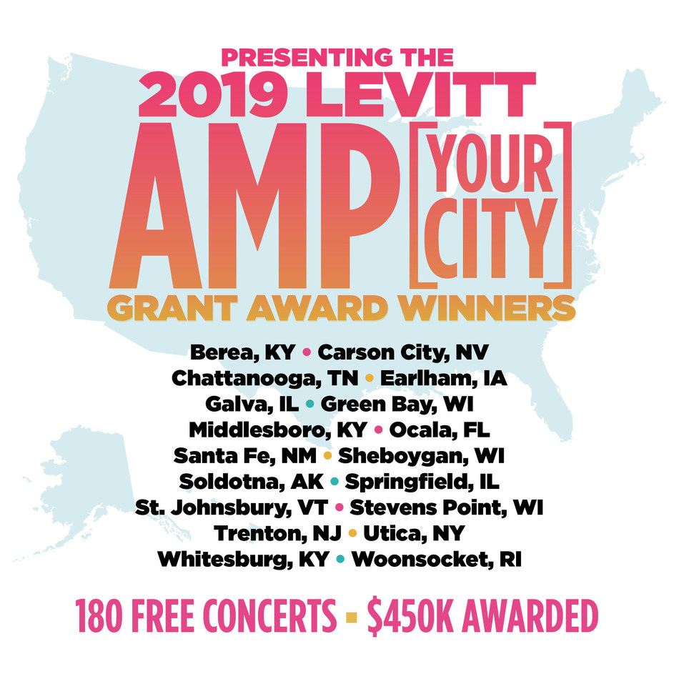 Today, the Mortimer & Mimi Levitt Foundation awarded $450,000 in matching grants to 18 nonprofits serving small- to mid-sized towns and cities across America to produce free outdoor concerts as part of the fifth annual Levitt AMP [Your City] Grant Awards.