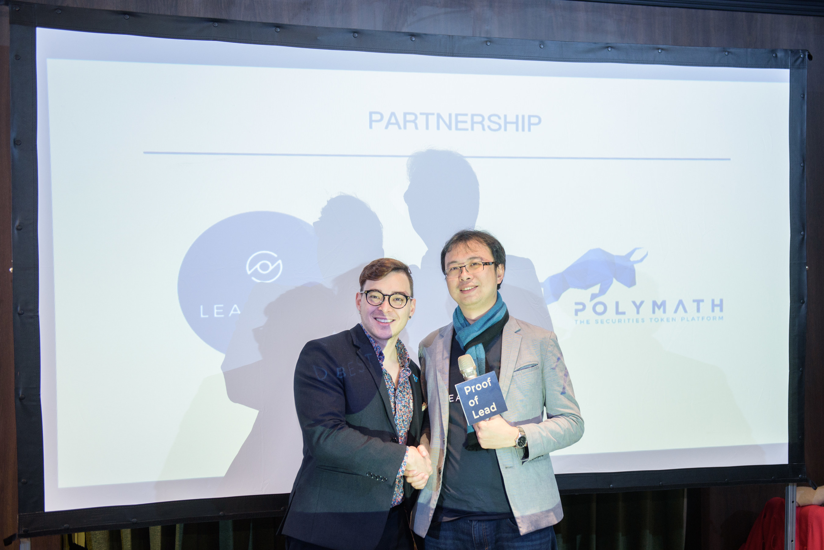 Heslin Kim, VP of Business Development at Polymath, and Neil Lee, co-founder and CEO of LeadBest, jointly announce their strategic partnership in Taiwan