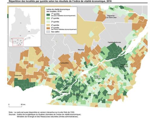 Répartition des localités par quintile selon l'indice de vitalité économique, 2016 (Groupe CNW/Institut de la statistique du Québec)