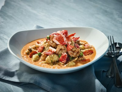 Bonefish Grill's Thermidor Gnocchi - Sweet Lobster chunks and tender Shrimp sauteed with golden-brown Potato Gnocchi, mushrooms, peas, and fresh tomatoes tossed in lobster-sherry cream sauce
