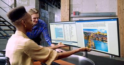 Le plus récent moniteur UltraWide de LG comprend un écran incurvé d'un rapport hauteur/largeur de 32:9 offrant une qualité d'image exceptionnelle. (Groupe CNW/LG Electronics, Inc.)