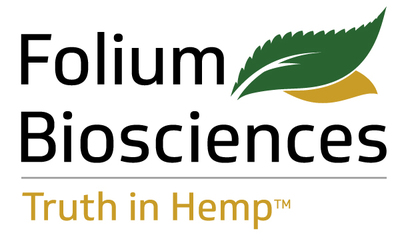 Folium Biosciences is a vertically integrated B2B producer, manufacturer, and distributor of hemp-derived non-psychoactive cannabinoids. Built on the core tenets of quality, science, scale, and innovation, Folium Biosciences controls all aspects of the supply chain from genetics and extraction to bulk and finished products. Folium Biosciences delivers the world's highest-quality hemp-derived non-psychoactive cannabinoid products through a proprietary process, resulting in a THC content of 0.0%. (PRNewsfoto/Folium Biosciences)