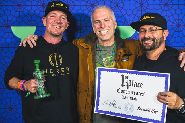 Herer Group partners Latif Horst (left) and Dan Herer (right) pose with The Emerald Cup founder Tim Blake at the 15th annual awards ceremony.