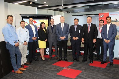 Bechtel leaders at opening of Bechtel Mining & Metals Innovation Center in Santiago, Chile. From left to right, Sergio Rodriguez , Luis Morales, Rodrigo Berríos, Alicia Henriquez, David Wilson, Bill Swanson, Benjamín Porras, Paige Wilson, Franco Muñoz and Luis Soto.