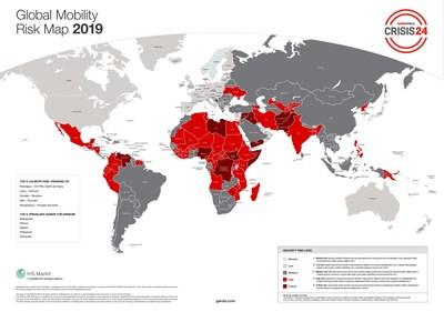 GardaWorld Sécurité des voyageurs, Carte du risque mobilité 2019 (carte disponible en version anglaise seulement). (Groupe CNW/Corporation de Sécurité Garda World)