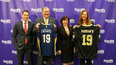New Orleans Saints and Pelicans Select Harrah's New Orleans As First Official Casino Partner (Pictured left to right: Caesars Entertainment Chief Experience Officer Michael Marino, New Orleans Saints and Pelicans President Dennis Lauscha, New Orleans Saints and Pelicans Owner Gayle Benson, and Harrah's New Orleans Assistant General Manager Kathryn Jenkins)