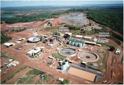 Aerial view of Aurizona plant (foreground) and and ore stockpile (background) (CNW Group/Equinox Gold Corp.)