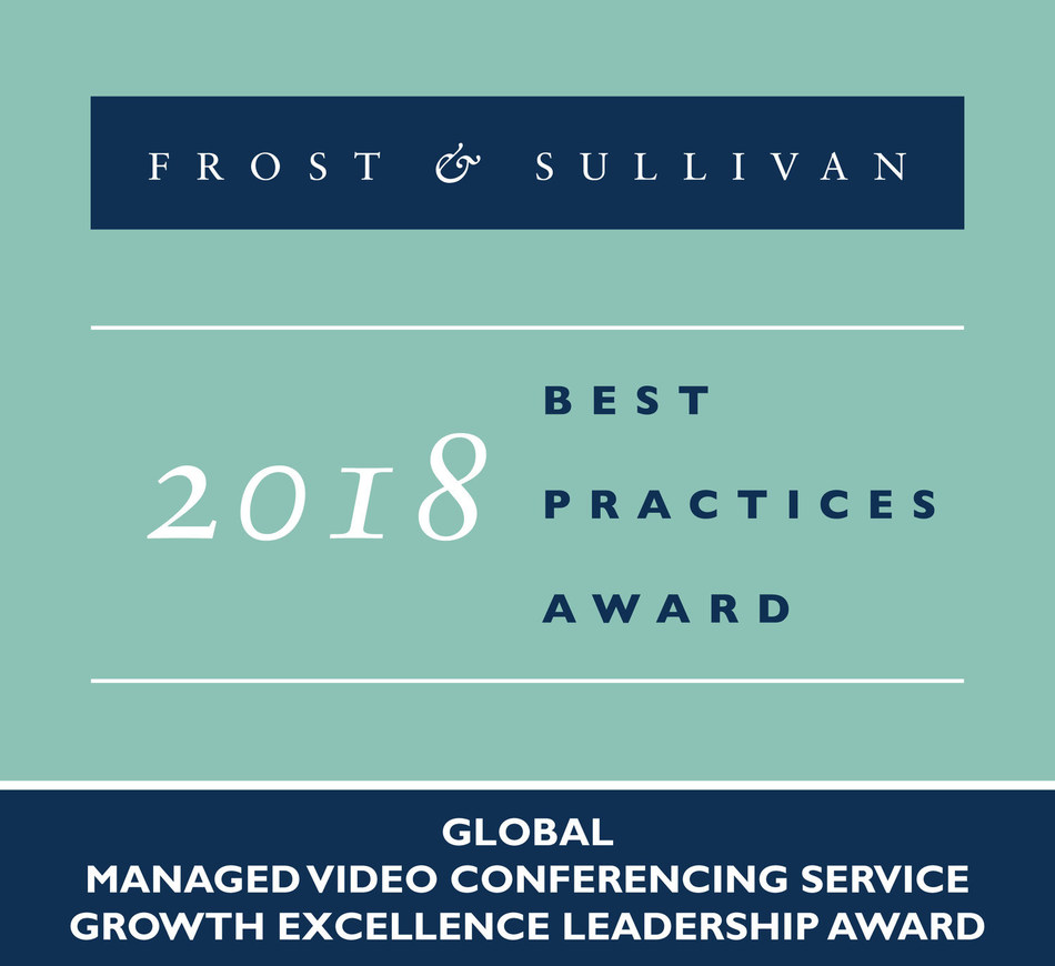 2018 Global Managed Video Conferencing Service Growth Excellence Leadership Award (PRNewsfoto/Frost & Sullivan)