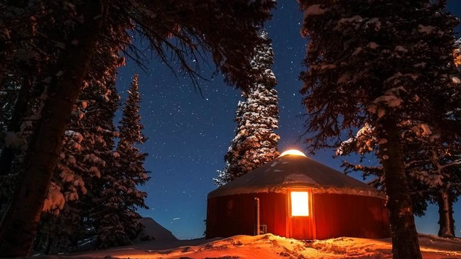 Luxury yurt village deep in Whisper Ridge's backcountry.