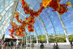 The Glasshouse is the centerpiece of Chihuly Garden and Glass. It is the result of Pacific Northwest-born and world-renowned artist Dale Chihuly's lifelong appreciation for conservatories, plus features one of his largest suspended sculptures. Photo courtesy of Chihuly Garden and Glass.