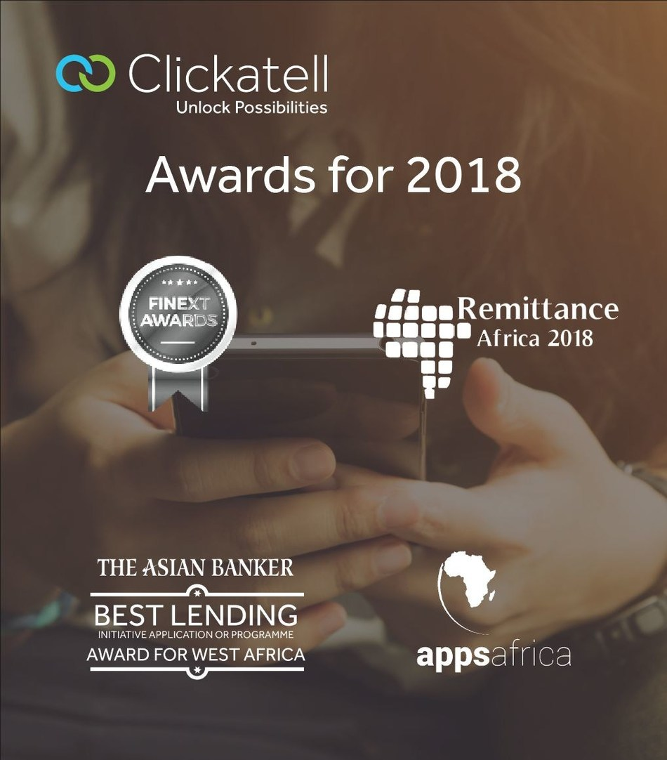 Some of the prestigious accolades Clickatell have received in 2018 (PRNewsfoto/Clickatell)