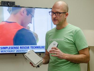 Eric Kanagy, SimpleSense CEO, demonstrates SimpleSense emergency response sensors.