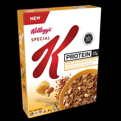 Today Kellogg's® debuts new Special K® Protein Honey Almond Ancient Grains cereal with 15g of protein per serving – which climbs to 21g of protein per serving in a single bowl when served with ¾ cup skim milk, getting you well on your way to reaching the daily protein recommendation of 46g for women.