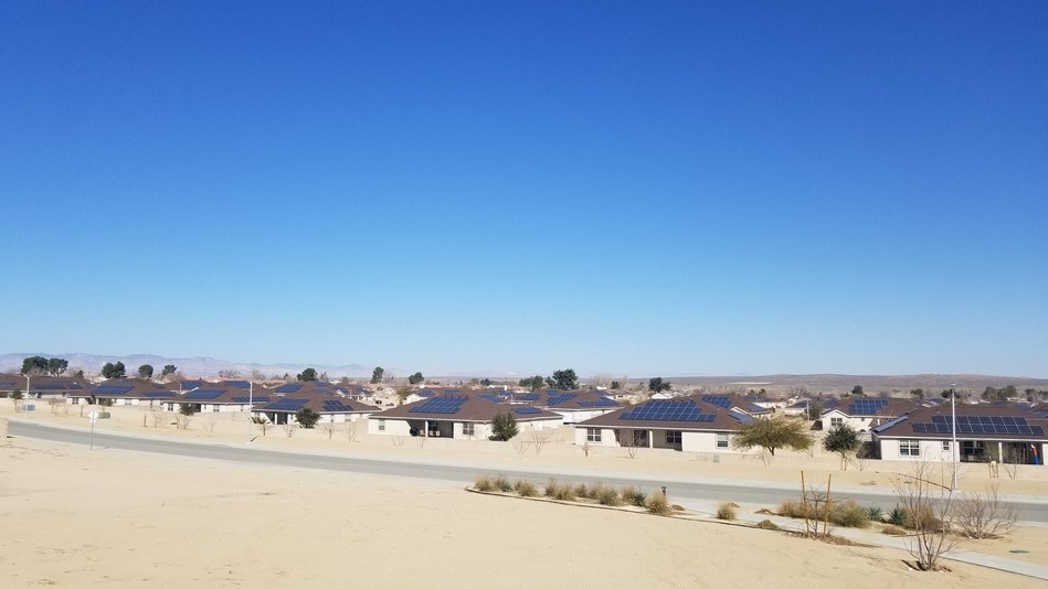 Pictured: Solar panels on homes at Edward's Air Force Base are a part of Corvias' solar program which achieved energy offsets of 30-60% across four U.S. military installations, exceeding the programmatic goal of 25% savings by 2025.