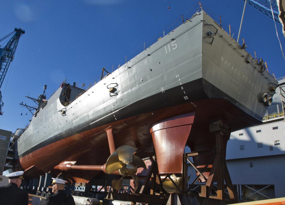 A DDG 51 destroyer under construction at Bath Iron Works