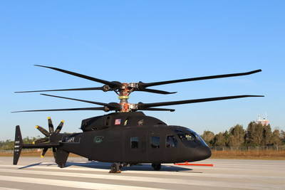 Sikorsky and Boeing provided the first look at the new SB>1 DEFIANT™ helicopter. The aircraft's rotor system will allow it to fly about twice as fast and twice as far as today's conventional helicopters. Courtesy Sikorsky-Boeing Team.
