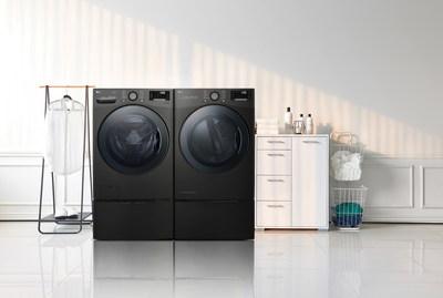 Le nouveau système de laveuse et sécheuse à grande capacité comprend une laveuse TWINWash à chargement frontal de LG de 27 pouces et une sécheuse dotée de la pompe à chaleur à DOUBLE inverseur qui offre plus d'avantages pour l'utilisateur. (Groupe CNW/LG Electronics, Inc.)