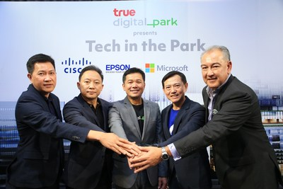 True Digital Park and 4 Global IT Partners Executives are, from left Mr. Vatsun Thirapatarapong, Managing Director, Cisco Thailand and Indochina, Mr. Yunyong Muneemongkoltorn, Director of Epson (Thailand) Co., Ltd., Mr. Thanasorn Jaidee, President of True Digital Park, Mr. Tanapong Ittisakulchai, Director of Enterprise and Commercial Promotion, Microsoft (Thailand) Co, Ltd., Mr. Julian JL Fryett, President of Ricoh (Thailand) Co., Ltd.