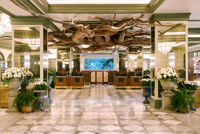 Lobby of Park MGM featuring a work of art by Henrique Oliveira