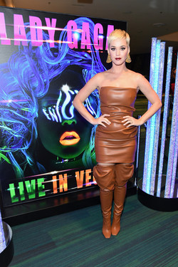 Katy Perry attends premiere of LADY GAGA ENIGMA at Park MGM in Las Vegas.