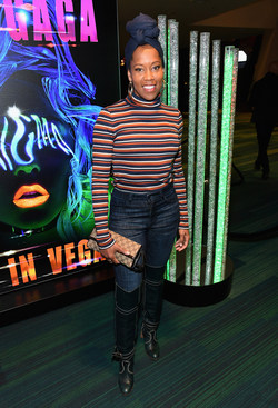 Regina King attends premiere of LADY GAGA ENIGMA at Park MGM in Las Vegas.
