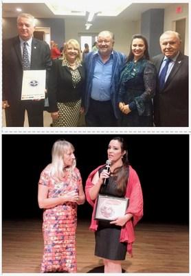 El Presidente de la Cámara de Comercio Argentina Americana Luis Cariola, junto a los Directores Nancy Clara y Marcelo Bottini en la firma del acuerdo entre las Cámaras de Comercio hispanas y CAMACOL mediante su Presidenta Mercy Saladrigas – Premios 2018 otorgados a la periodista