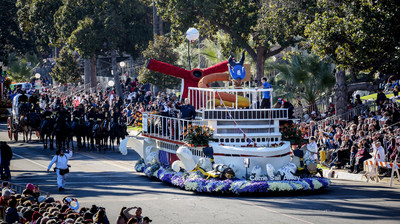 "January 1, 2019, Pasadena, CA. Carnival Cruise Line participates in their first Tournament of Roses Parade, with the their entry named ""Come Sail Away"" and debuting their newest  ship the Carnival Panorama, which showcased floral scuba divers, and as well acrobatics on their trampoline.  