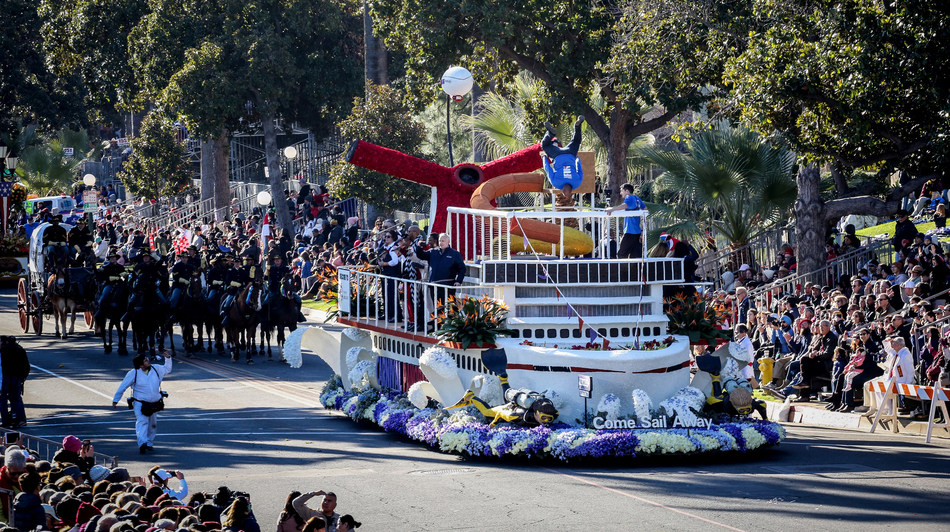 January 1, 2019, Pasadena, CA. Carnival Cruise Line participates in their first Tournament of Roses Parade, with the their entry named