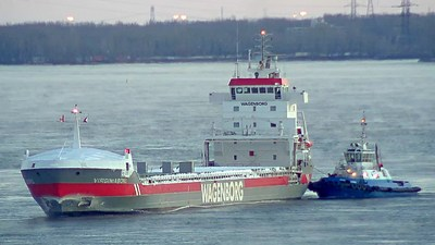 The Virginiaborg, first ocean vessel to arrive at the Port of Montreal in 2019. (CNW Group/Montreal Port Authority)