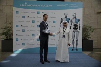 Yosouf Abdulrahman Saleh, Executive Director, QSTP, welcomes Alar Kolk, President, EIA; an exclusive and strategic partner, at the opening day of the Arab Innovation Academy 2019. (PRNewsfoto/Qatar Science & Technology Park)