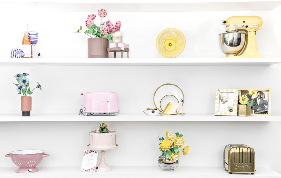 Registry wall of gifts for newlywed life