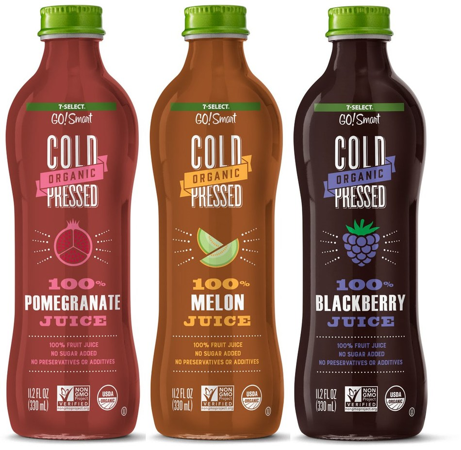 For juice-loving customers: 7-Eleven is back with new varieties of its 7-Select GO!Smart™ organic cold-pressed juice – this time in 100 percent single juice varieties. While orange and apple juice can be found anywhere, the new 7-Select GO!Smart 100 percent fruit juices are unusual varieties that aren't typically found in every grocery and convenience store.
