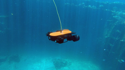 Titan: Not only is the Titan underwater drone the world's first underwater drone with a robotic arm, it is also the deepest diving underwater drone with a 4K camera, able to dive up to 492ft and has extension support. Since it comes with precise hovering and is capable of high and low angle photography (-60°~ 60°), Titan is perfect for professional underwater filming.